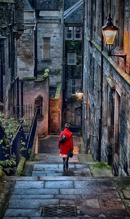 I want to walk slowly down this staircase. Stairway.. Edinburgh, Scotland. I'd get down it fast, if I were you. It often smells of wee-wee and is splattered with vomit....