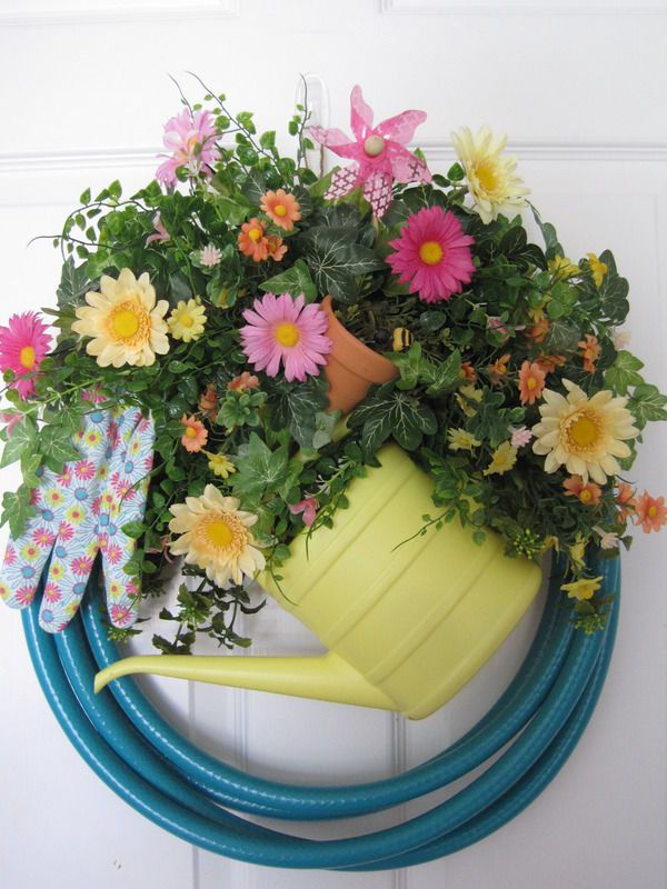 TURQUOISE GARDEN HOSE Wreath Pink Yellow Peach Spring Summer Mother's Day Gift #Handmade