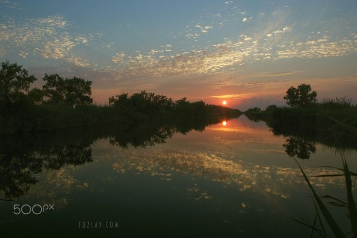 Perspective to the sun - Taman peninsula view. Temryuk, Krasnodar region.