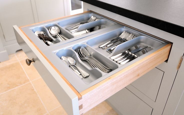 A hand made, solid timber dove tailed drawer box with cutlery insert is a lovely inclusion in any period style kitchen.