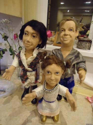 Портретные куклы из шерсти, семья.