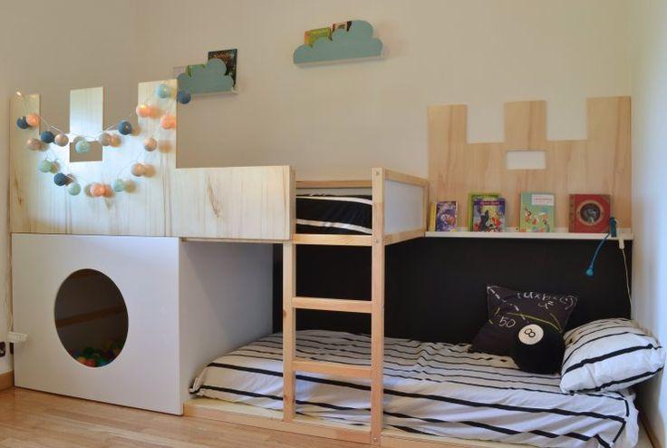 Ikea Kura bed hack looks like a castle w/ a hidden ball pit using plywood and veneer panels
