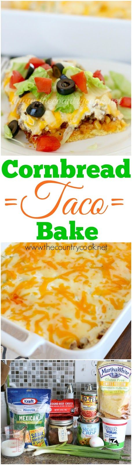 Cornbread Taco Bake recipe from The Country Cook. Gluten-free! I don't even eat a gluten-free diet and my family went crazy over how good this was. One of my new favorite dinners!