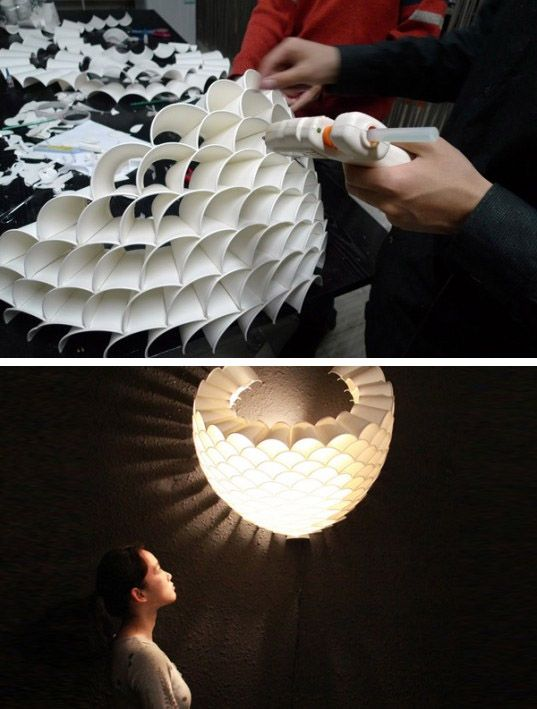 Rays Recycled Paper Cup Lamp is a Glowing Honeycomb of Light ( video :: vimeo.com/22938952 )