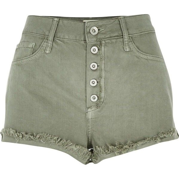 River Island Green high waisted denim shorts ($56) ❤ liked on Polyvore featuring shorts, bottoms, pants, short, green, denim shorts, women, high rise shorts, short jean shorts and high rise jean shorts