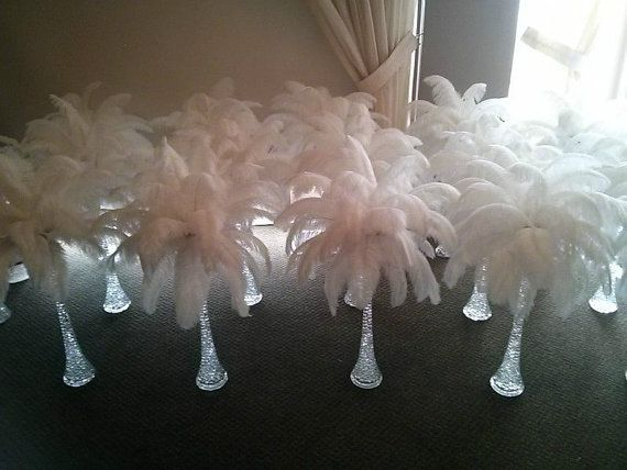 20 White Ostrich Feather Centerpieces by Featherology2 on Etsy