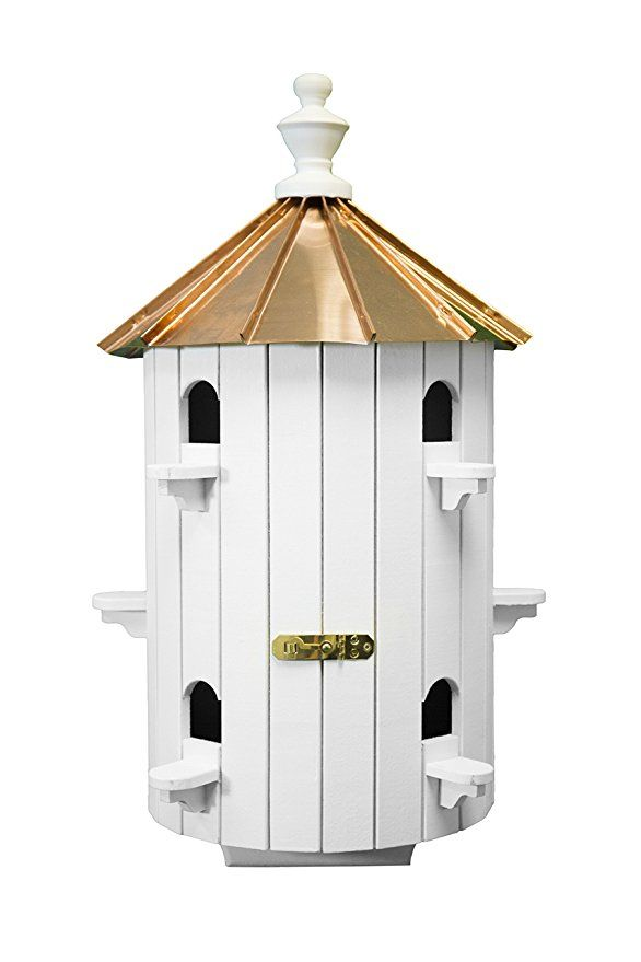 10 Hole Bird House Low Roof Copper Top Xlarge 26 Inches Tall Amish Made In Us Bird Houses Copper Roof Bird House Plans Free