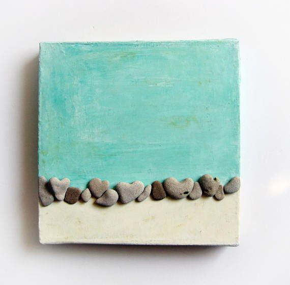 Pebble-Kunst Herz-Felsen Natur inspiriert Wandkunst Strand