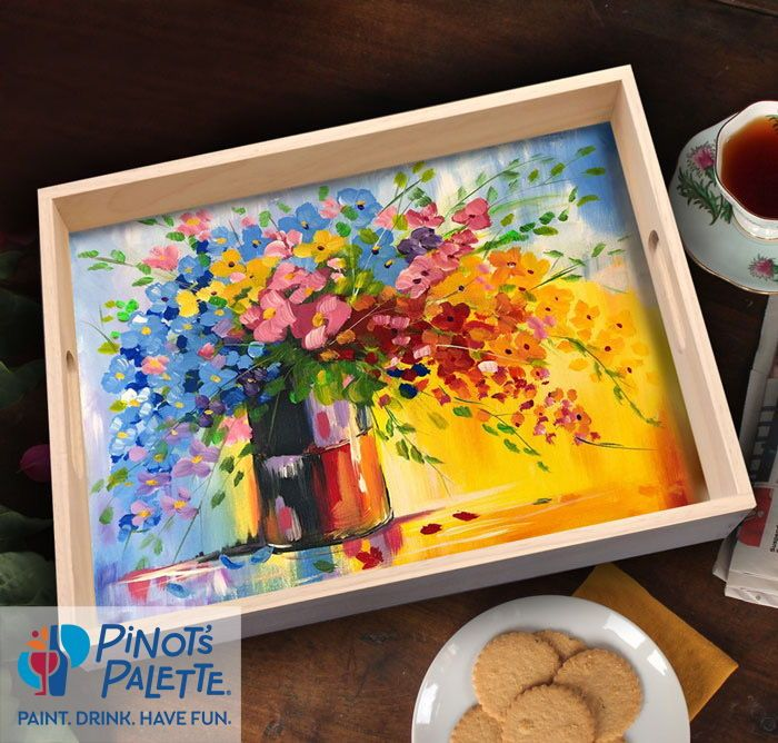 Paint On A Serving Tray In 2020 Paint And Drink Paint And Sip Pinots Palette