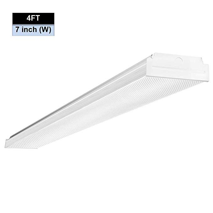 Antlux 4ft Led Garage Shop Lights Led Wraparound Light Fixture 40w 4800 Lumens 4000k Neutral White 4 Foot In Wraparound Lights Ceiling Lights Shop Lighting