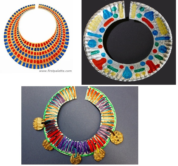 Paper Plate Egyptian Necklace (for one of my craft programs we will be decorating paper plates)