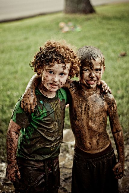 The best kind of boys are muddy giggling ones!  My son and his buddy on a summer afternoon!  www.facebook.com/barefeetbylaci
