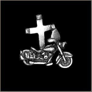 """""""Jesus Rides w/ Me"""" Biker Pin by All American Gremlin Bells. $4.00. American made Motorcycle with Cross Pin"""