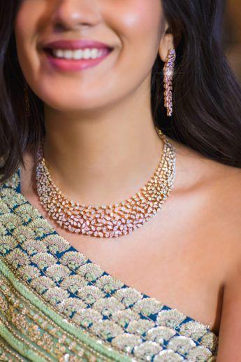 Indian Wedding Jewelry - Colored Diamond Set | WedMeGood #wedmegood #indianbride #indianwedding #bridal #jewelry #indianjewelry #necklace #diamondjewelry #weddingjewelry