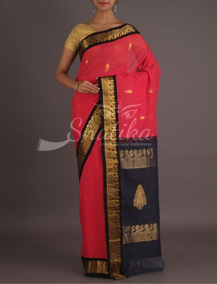 Yuvika Lovely Contrast Eye Catchy Gadwal Pure #CottonSaree