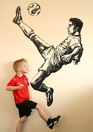 Boys Kids Childrens Childs Baby Nursery Playroom Bedroom Football Footballer Soccer Sport Wall Furniture Stickers Decals Stickarounds Decor