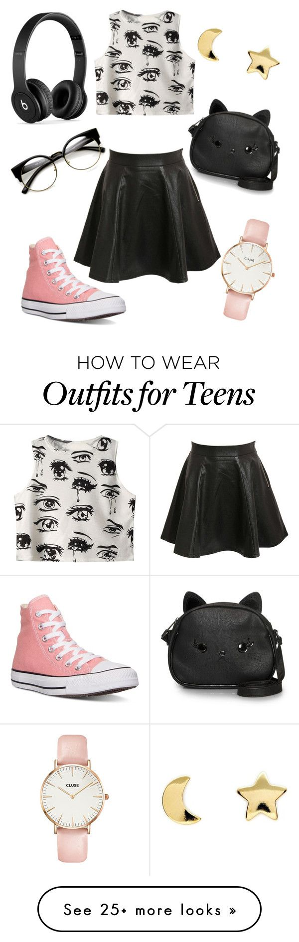 """White Teeth Teens"" by jaguarhull on Polyvore featuring Chicnova Fashion, Pilot, Converse, Loungefly, Beats by Dr. Dre, CLUSE and Erica Weiner"