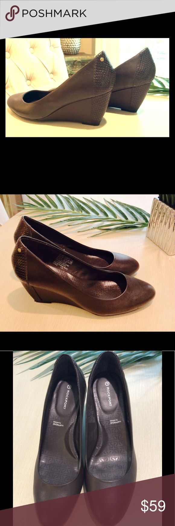 "Rockport ""AdiPrene"" by Adidas Brown Wedges Extremely comfortable wedges, size 8.5' all leather upper, Adidas technology , 3-inch wedge, worn once Rockport Shoes Wedges"