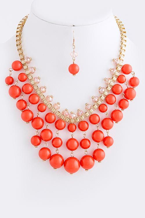 Coral Bib Necklace with Earrings - Anthropologie Inspired Statement Necklace love this as a statement piece