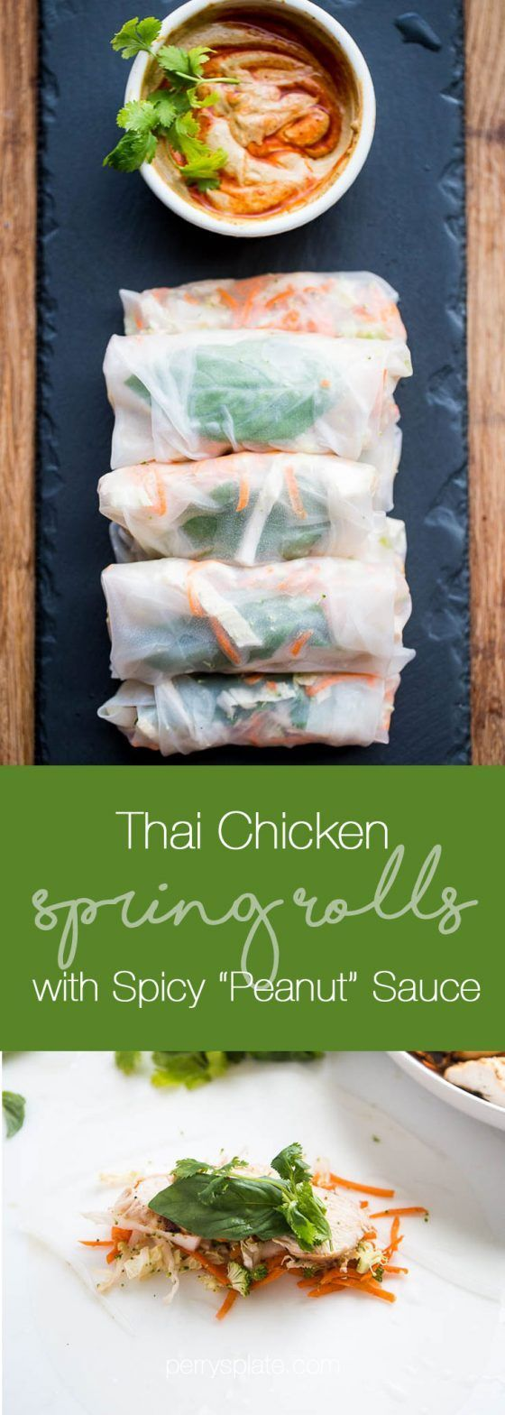 """Thai Chicken Spring Rolls with Spicy """"Peanut"""" Sauce -- A gluten-free and paleo-ish dinner that's great for a warm summer night. The Thai grilled chicken and nutty sauce are a winning combination!   paleo recipes   gluten-free recipes   perrysplate.com"""