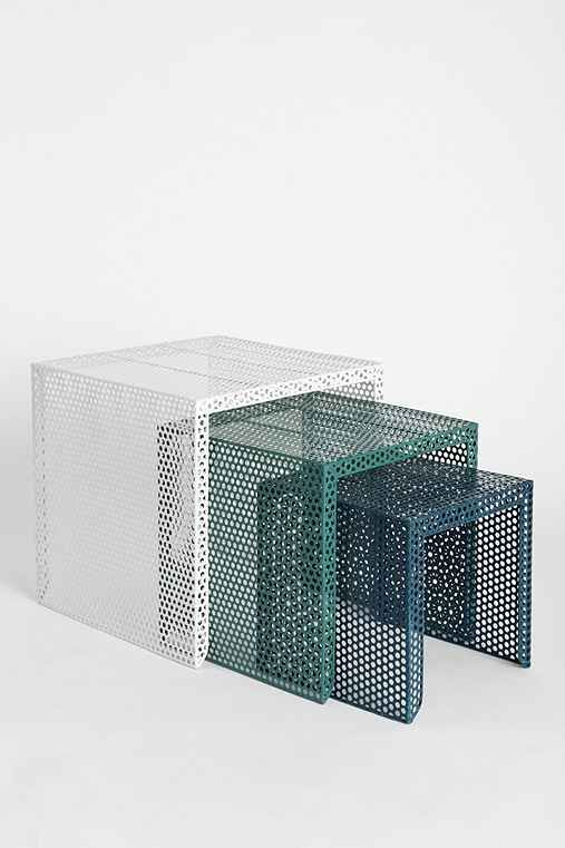 Nested Perforated Metal | Side Tables | White | Green | Blue | Compact Loft Living | Warehouse Conversion | Inspirational Design | Modern Photography | Warehouse Home Design Magazine