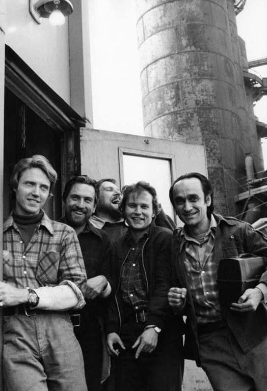 "Christopher Walken, Robert De Niro, Chuck Aspegren, John Savage, and John Cazale during filming of ""The Deer Hunter"" (1978)"
