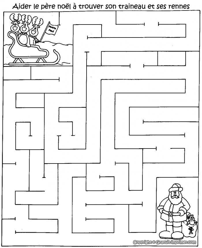 Cliquez sur l'image pour télécharger ce jeu :  Jeu labyrinthe gratuit pour enfant avec père noël et ses rennes