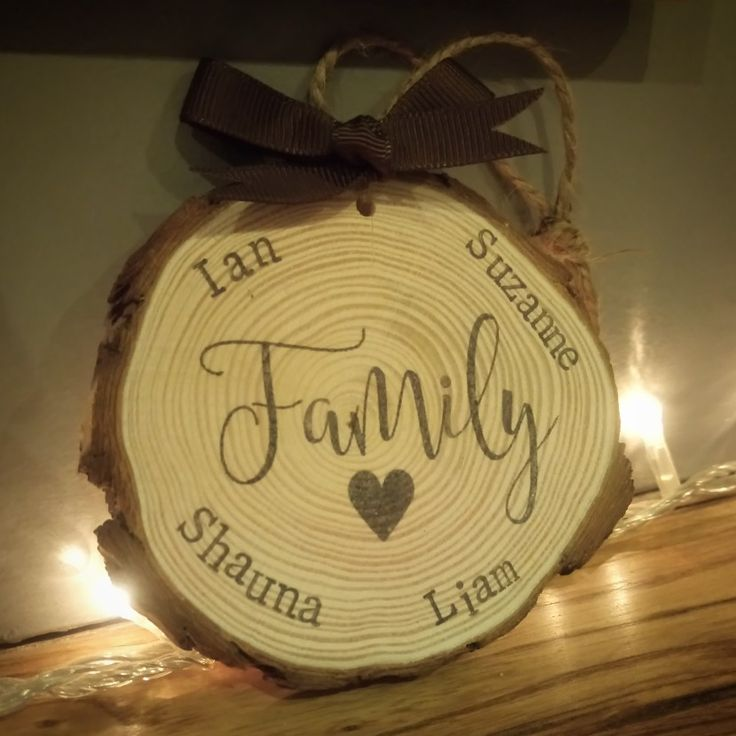 Personalised 'Family' wooden slice £5 each handmade @thecraftyshed email mycraftyshed@gmail.com to order