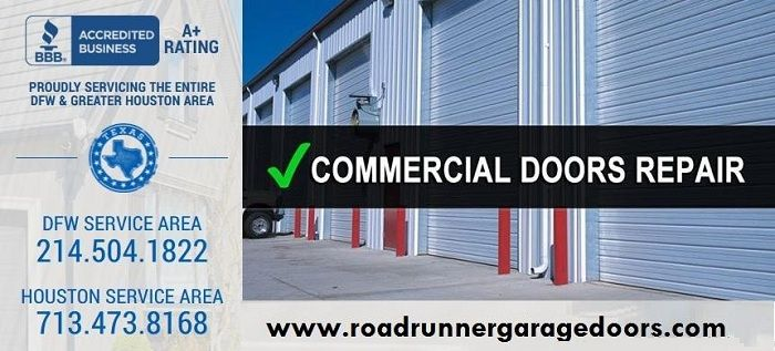 Call 214-504-1822 for Urgent 24/7 Garage Door and Garage Door Opener Repair - Roadrunner has the equipment and skills needed to diagnose and repair commercial garage doors, such as those found at self-storage facilities, service stations, and loading docks.