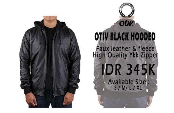Otiv Faux Leather Black Hoodie