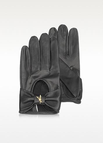 Patrizia Pepe Black Leather Gloves   FORZIERI