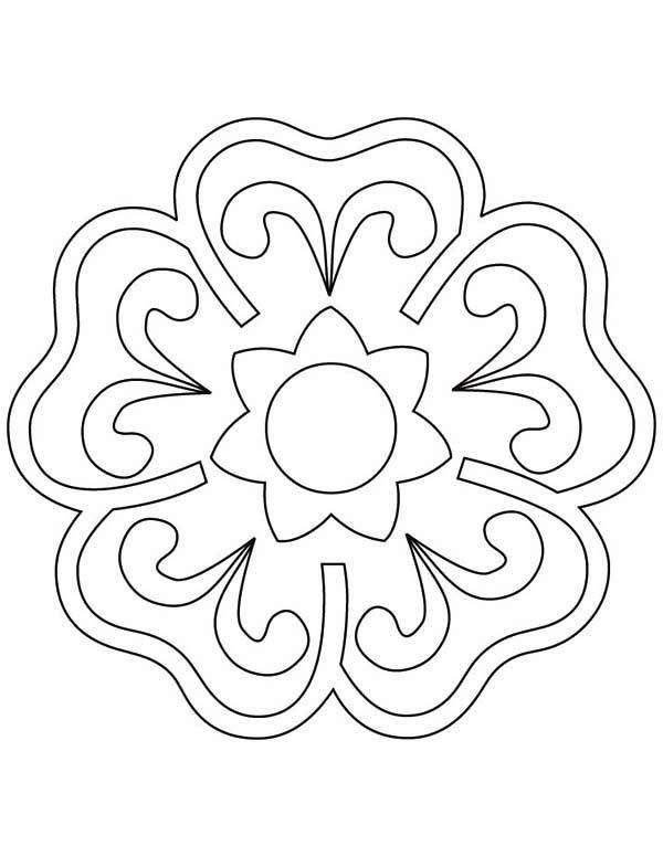 Blooming Flower Rangoli Coloring Page Netart In 2020 Flower