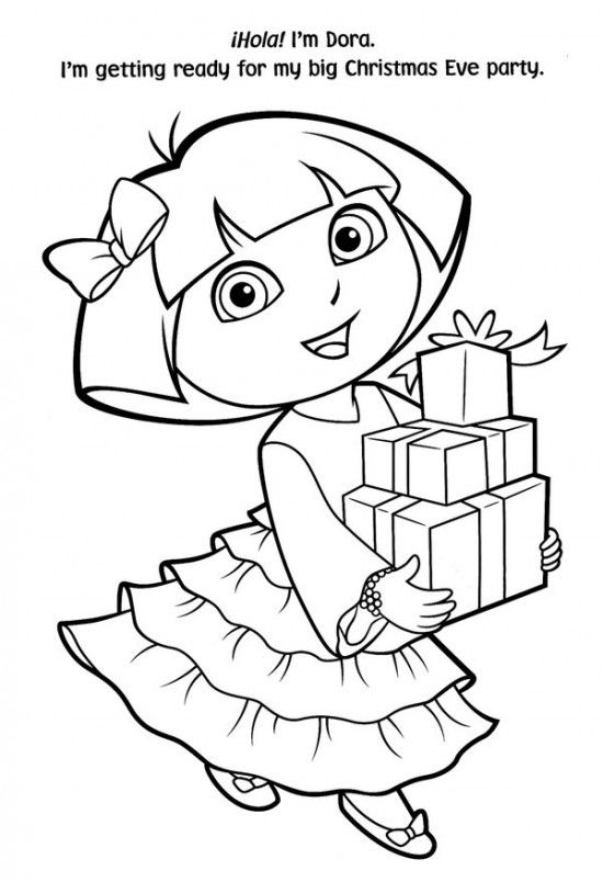 Free Printable Dora Christmas Coloring Pages Picture 15 550x804