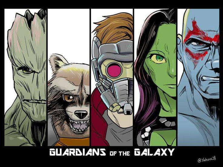 """Groot, Rocket, Peter """"starlord"""", Gamora and Drax"""