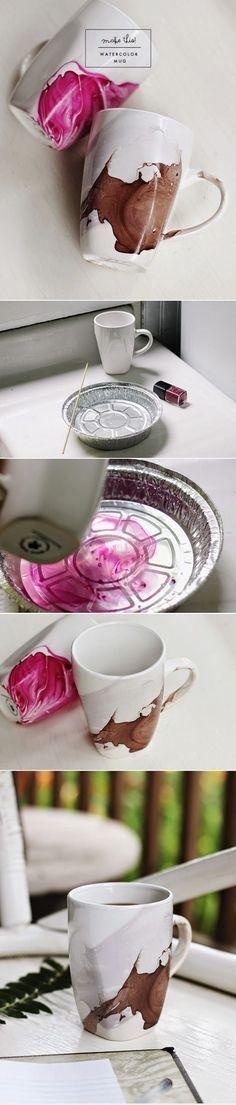 DIY Watercolor Mug by Poppytalk