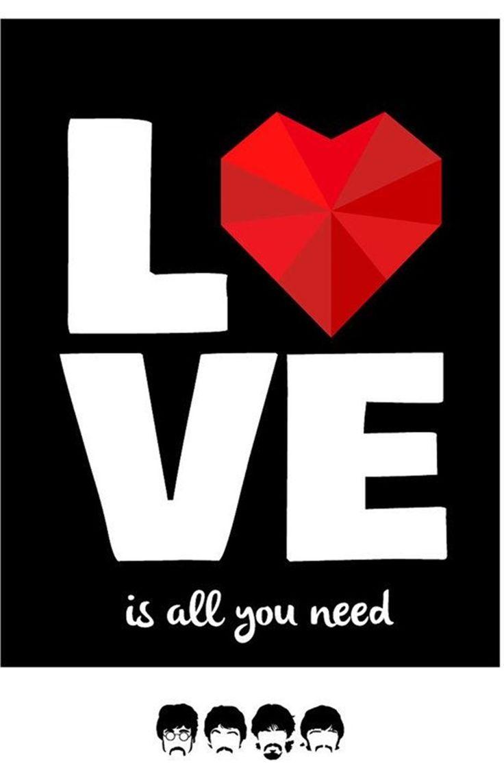 Poster para imprimir - beatles-love is all you need - vintage