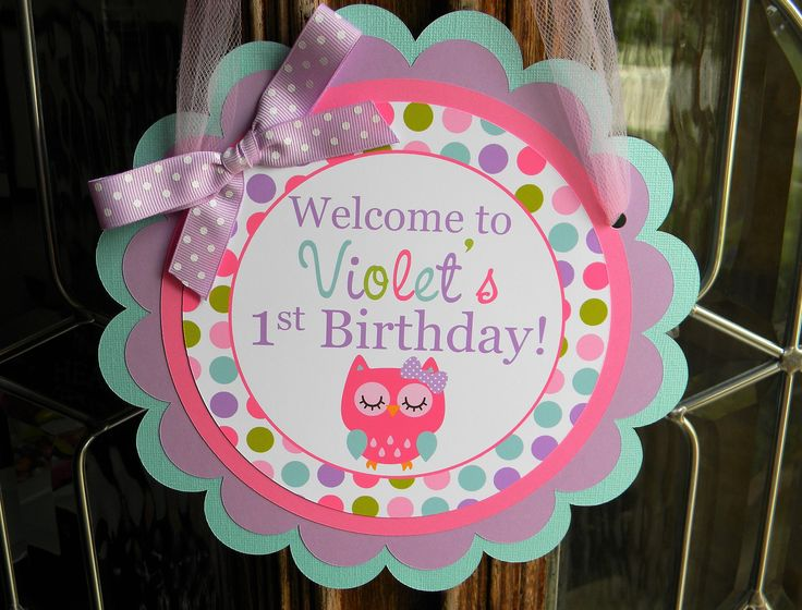 Owl Birthday Party Personalized Welcome Door Sign Pink, Purple, Teal and Green - Owl Party Decorations - Owl Door Hanger- Owl Party Supplies by sweetheartpartyshop on Etsy https://www.etsy.com/listing/212289431/owl-birthday-party-personalized-welcome