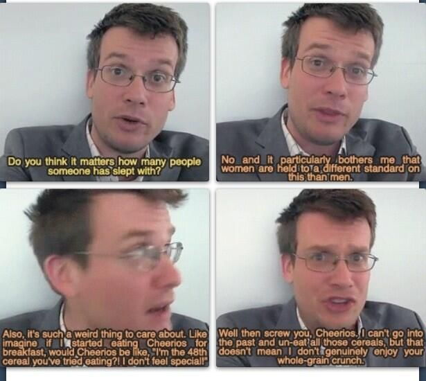 """John Green. """"Well screw you cheerios!"""" I just love this man"""