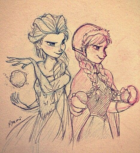 Elsa & Anna by (whoever's name is next Elsa's swooshing ice cloak thing)
