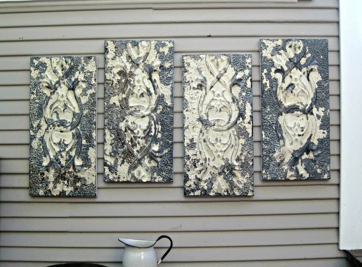 Large Wall Art Antique Ceiling Tin Tiles Distressed