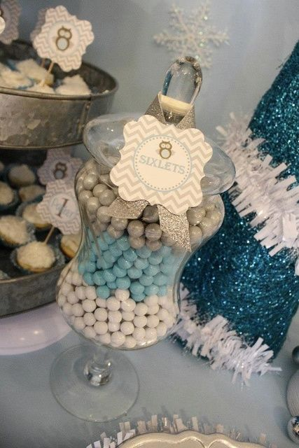 Sixlet candy jars at a Winter wonderland party #winter #candy