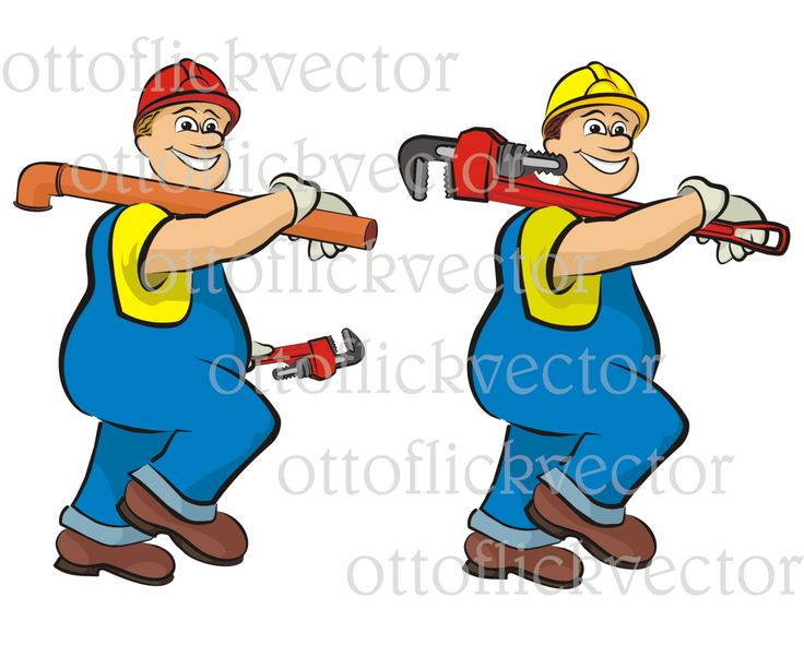 PLUMBER VECTOR CLIPART, plumbing cartoon eps, ai, cdr, png, jpg instant download, smiling plumber, men at work, construction clipart by ottoflickvector on Etsy