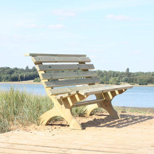 A Comfortable Wooden Garden Bench 150cm Long. Seats 3. Ergonomic Sloping  Design.