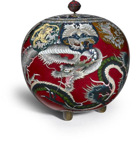 A large cloisonné incense burner (koro) and cover Meiji period (late 19th century)