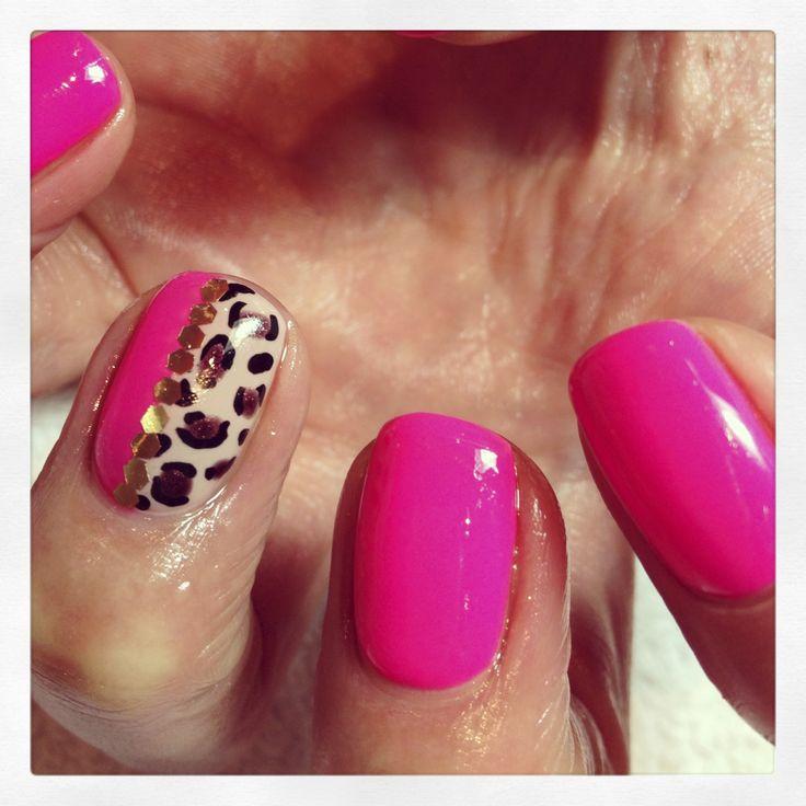 No.105 - Jinkie Pink #biosculpture #nails #pinknails #gelnails #summernails #nailart #leopard #nail #biogel