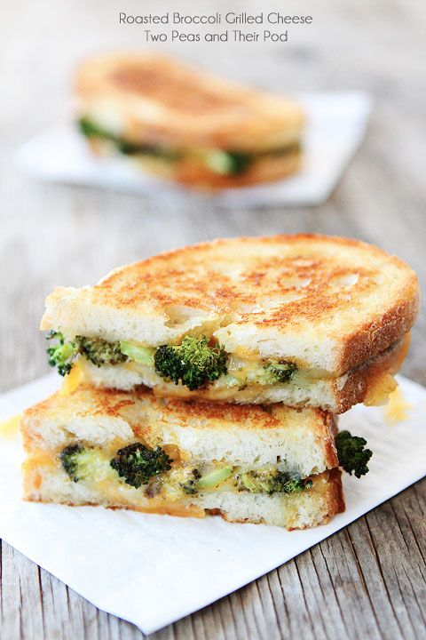 Roasted Broccoli Grilled Cheese Sandwich Recipe on twopeasandtheirpod.com The BEST way to eat broccoli!