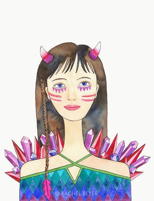 Watercolor & Ink by Rachel Beyer http://campsmartypants.blogspot.com/2014/09/paint-your-art-out.html #warrior #crystals #watercolor