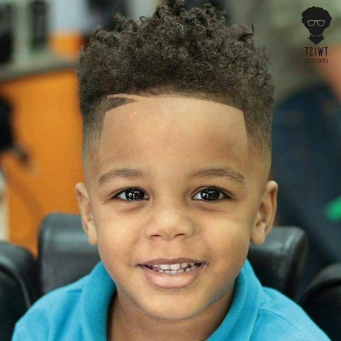 Guy Hairstyles Toddler Black Curly Hair Undercut Blue Shirt Large Brown Eyes In 2020 Black Kids Haircuts Black Boys Haircuts Boys Haircuts
