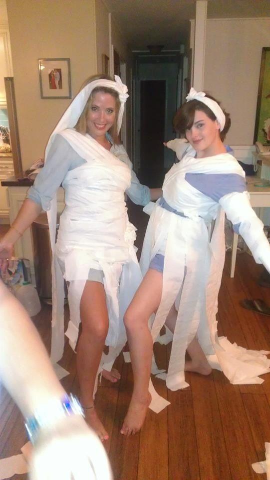 Toilet paper wedding dress bachelorette party game