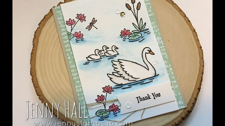 Swan Lake stamps and Watercolor Pencils card using Stampin Up products w... visit www.jennystampsup.com